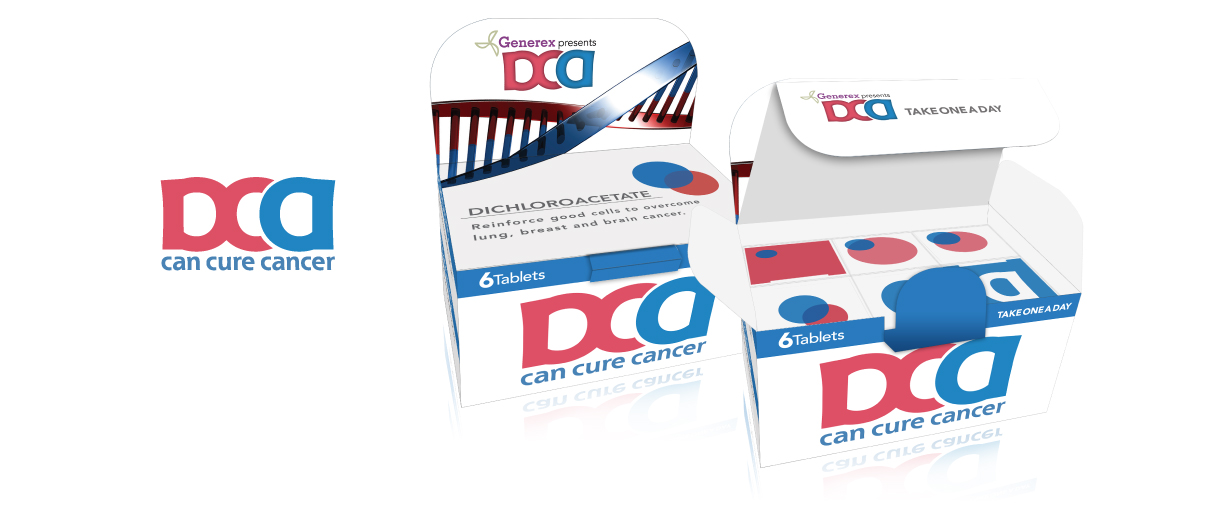 Packaging Design for DCA which is a possible drug that can cure cancer with 6 tablets.