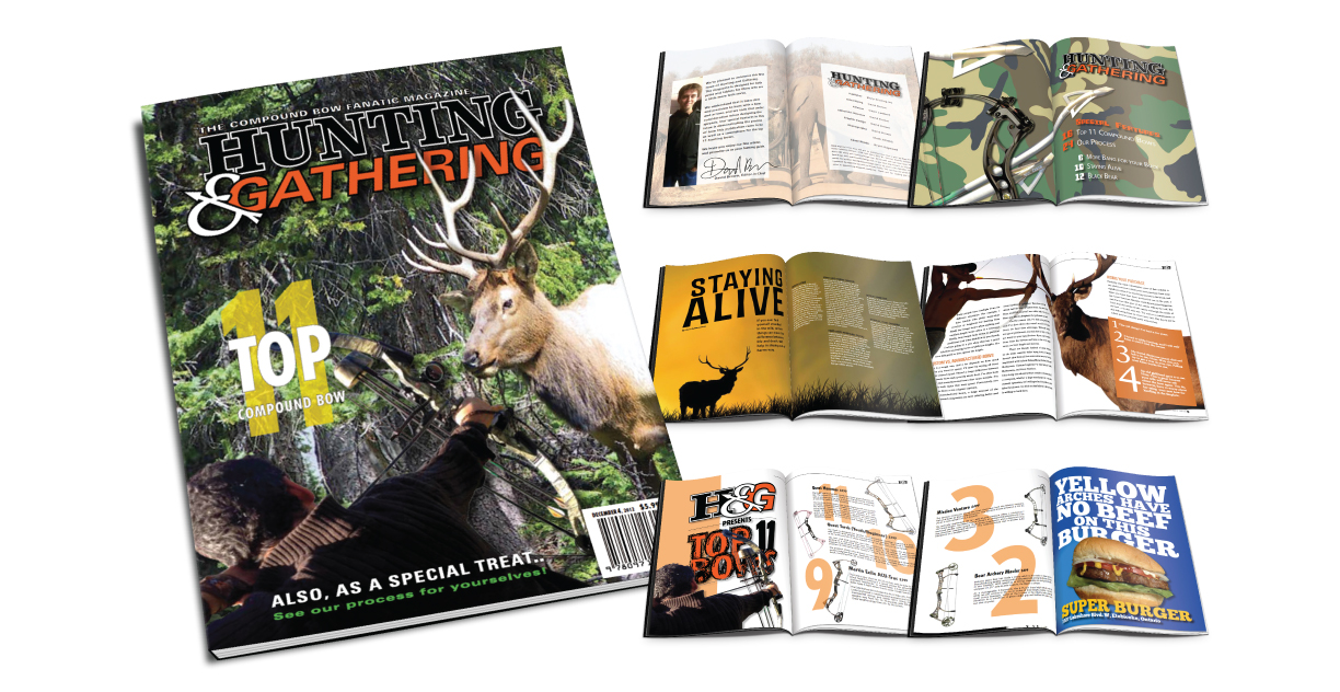 Magazine Design for Hunting and Gathering which is a magazine for strategic bow hunters.